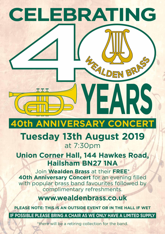 Wealden Brass 40th Anniversary Concert, Aug 2019